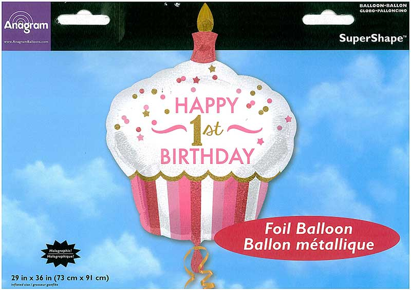 "SuperShape-Ballon ""Happy 1st Bday Cupcake"" Mädchen"